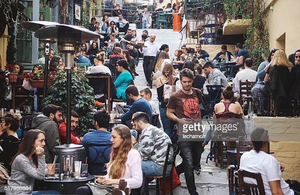 Busy street in Athens, Greece