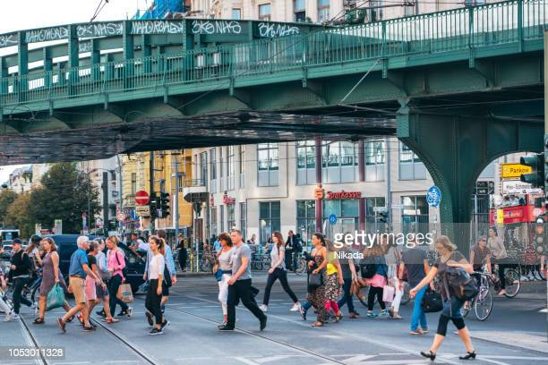 busy street in berlin, germany - prenzlauer berg stock photos and pictures