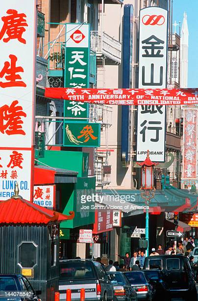 Busy street in Chinatown District San Francisco California