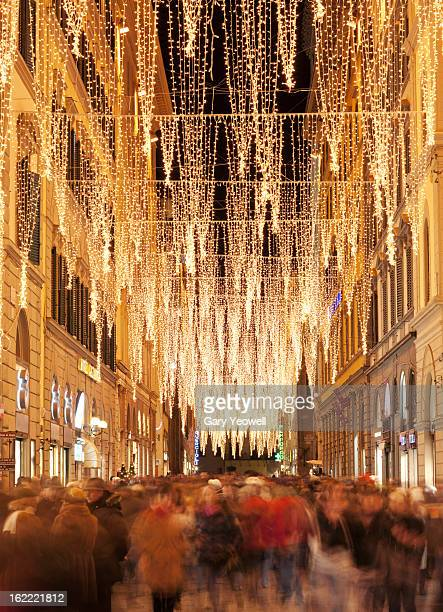 Busy street in Florence at Christmas