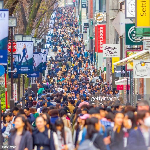 Busy street in Harajuku District, Tokyo, Japan