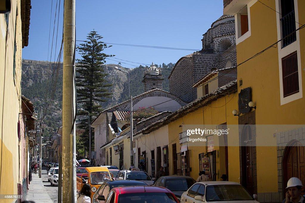 Busy street in Huamanga, Peru : Stock Photo