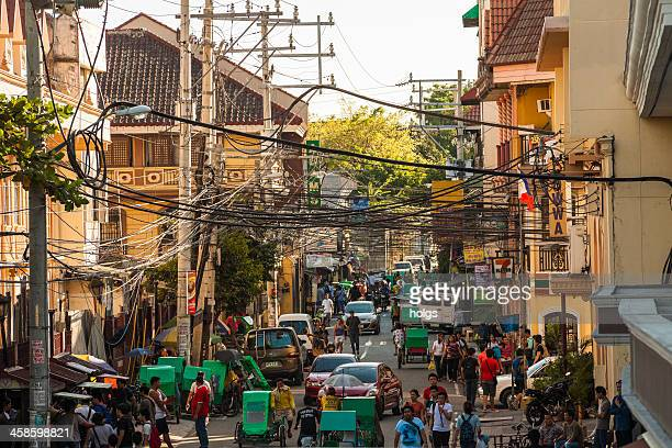busy street in intramuros, manila, philippines - manila philippines stock pictures, royalty-free photos & images