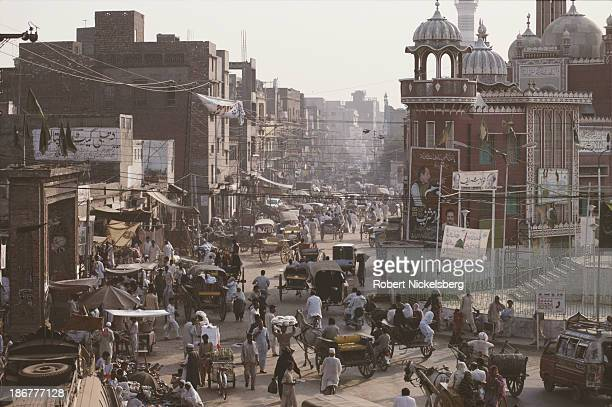 Busy street in Lahore, Pakistan, October 1990.