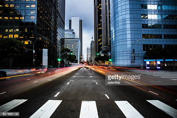 busy street in los angeles - downtown district stock pictures, royalty-free photos & images