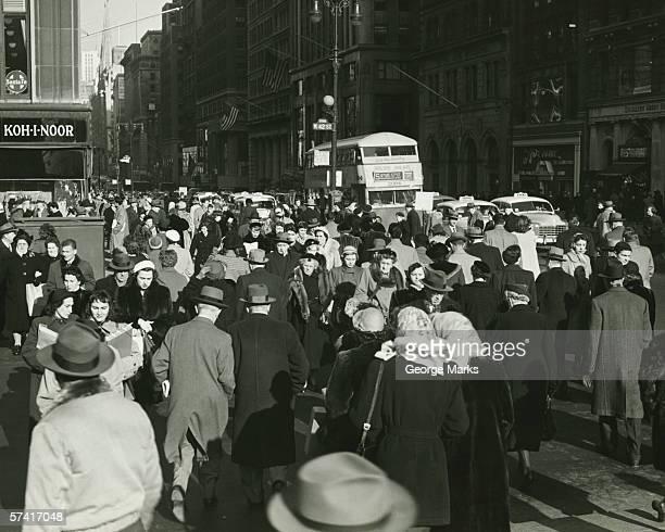 Busy street in New York City, (B&W)