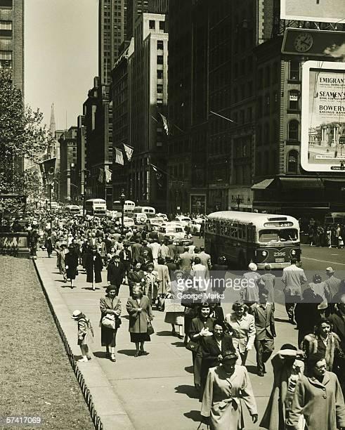 Busy street in New York City , (B&W)