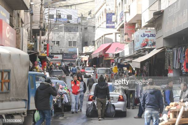 Busy street in Old Town of Amman. On Tuesday, February 12 in Amman, Jordan.