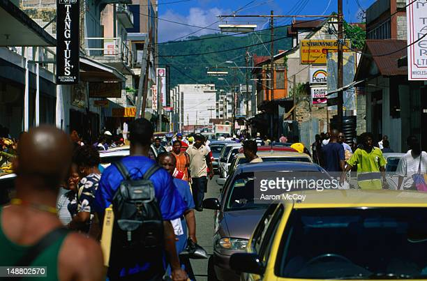 busy street in the port of spain, trinidad. - port of spain stock pictures, royalty-free photos & images