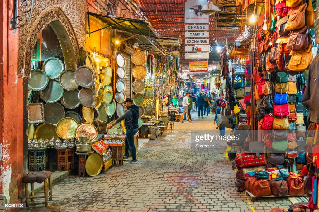 Busy street in the souks of Marrakech, Morocco : Stock Photo