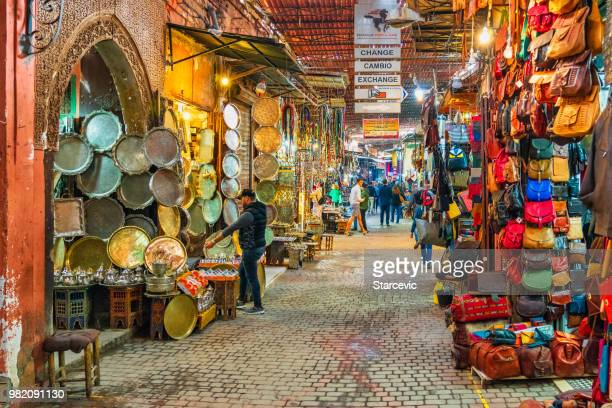 Busy street in the souks of Marrakech, Morocco