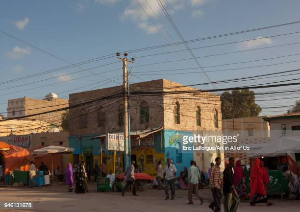 Busy street in the town Woqooyi Galbeed region Hargeisa Somaliland on November 11 2011 in Hargeisa Somaliland