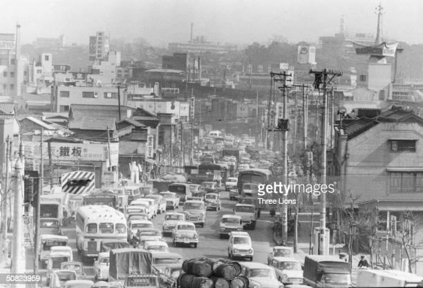 A busy street in Tokyo circa 1955