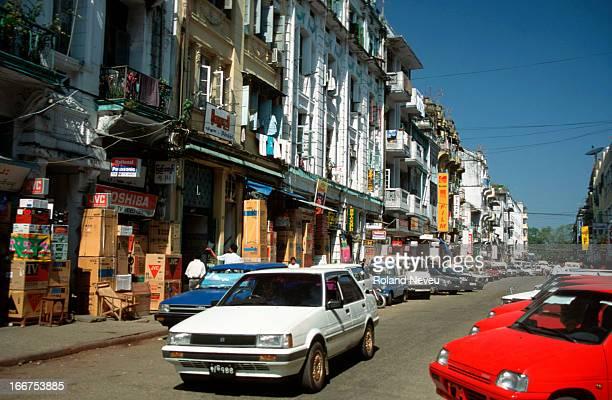 Busy street in Yangoon..