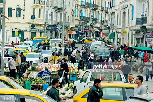 CONTENT] Busy street market in Central Tunis in Tunisia