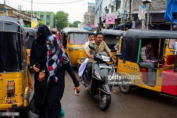 A busy street near Charminar in Hyderabad