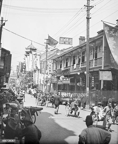 Busy street of Shanghai in Early circa 1930