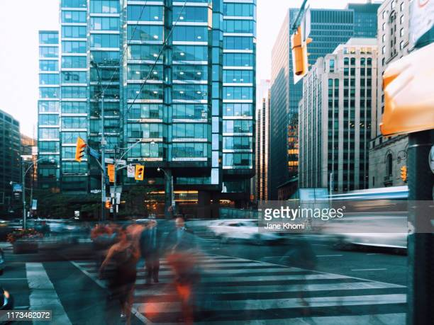 busy street of toronto - toronto stock pictures, royalty-free photos & images