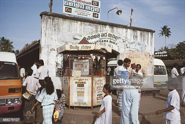 A busy street scene at a bus station in Sri Lanka August 1989