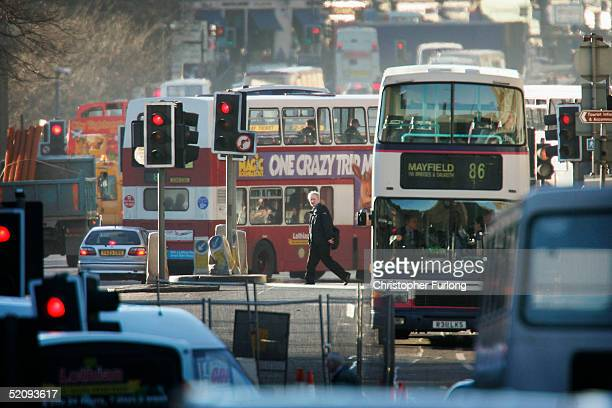 A busy street scene congested with traffic on February 1 2005 in Edinburgh Scotland The people of Scotland's capital are to vote on the Council's...