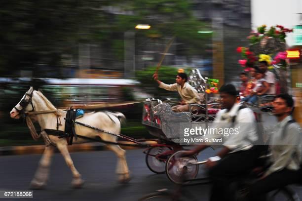 A busy street scene in Mumbai during rush hour, Maharashtra, India