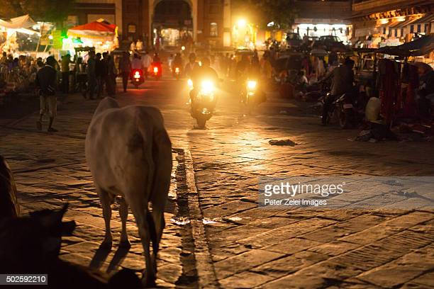 Busy street scenes in Jodhpur (Rajasthan, India) at dusk