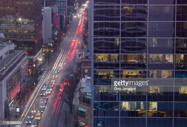 Busy Street Traffic and Busy Offices