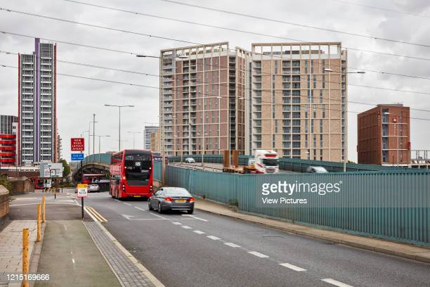 Busy street with bridge structure Canning Town London United Kingdom Architect N/A 2017