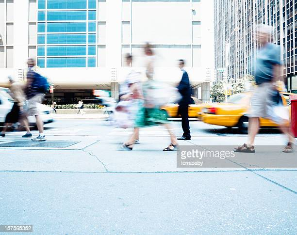 busy streets commuters in new york city - moving past stock photos and pictures