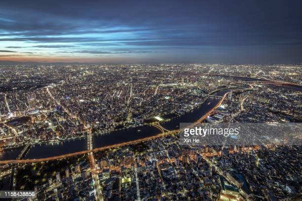busy streets in tokyo and the view of tokyo skytree / tokyo, japan - kanto region stock pictures, royalty-free photos & images