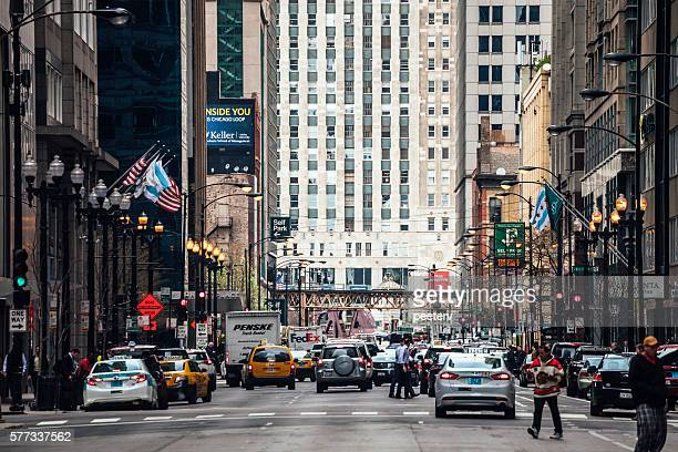 Busy streets of Chicago downtown.