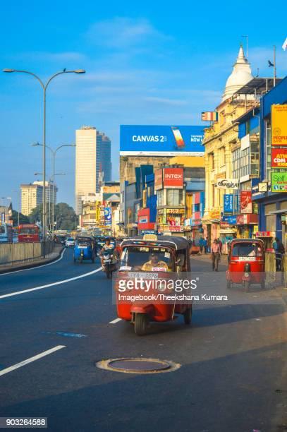Busy streets of Pettah, Colombo, Sri Lanka.