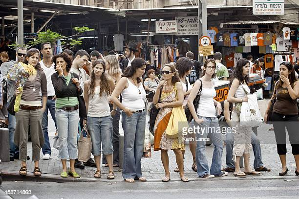 busy streets of tel aviv, israel - pedestrians stock photos and pictures