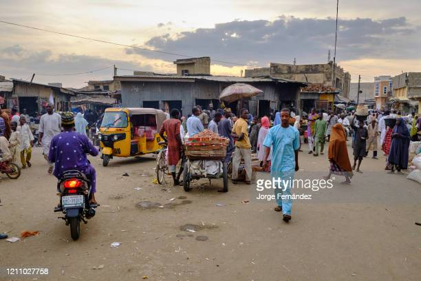 Busy streets of the Kano street market.