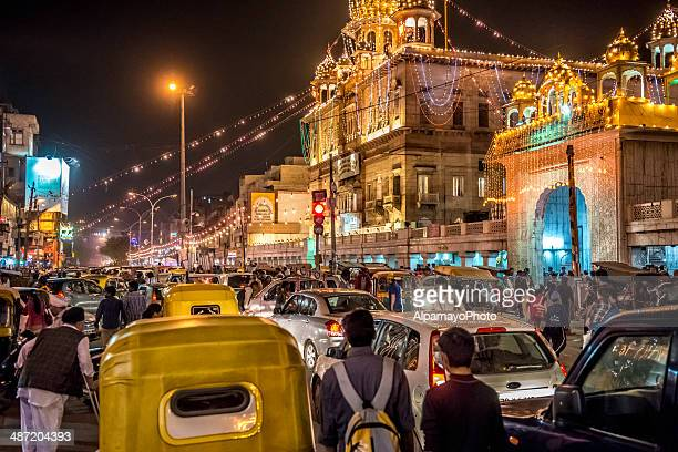 Busy streets of the Old Delhi spice market by night