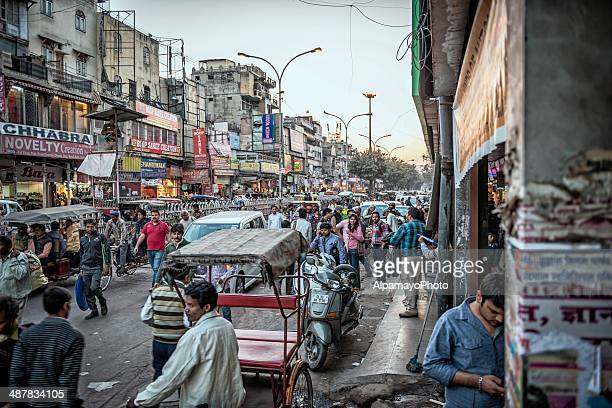 Busy streets of the Old Delhi spice market