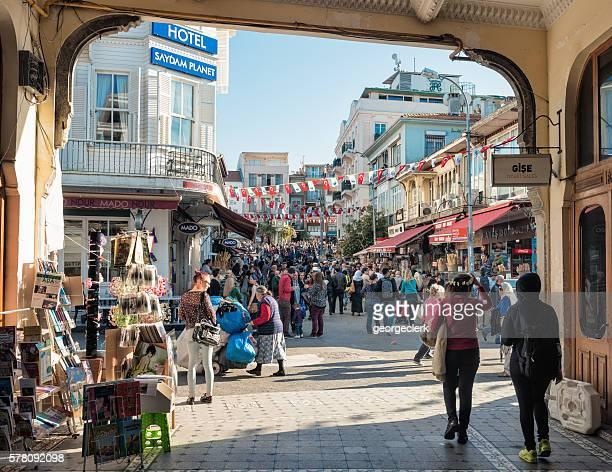 Busy streets on Buyukada Island in Istanbul Province, Turkey
