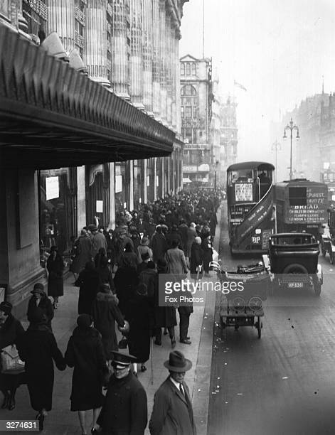 Busy stretch of Oxford Street, outside the department store, Selfridges.
