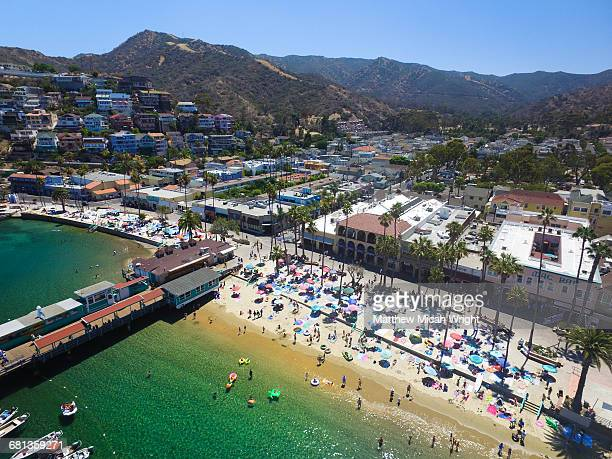 A busy summers don on the beach on Catalina.