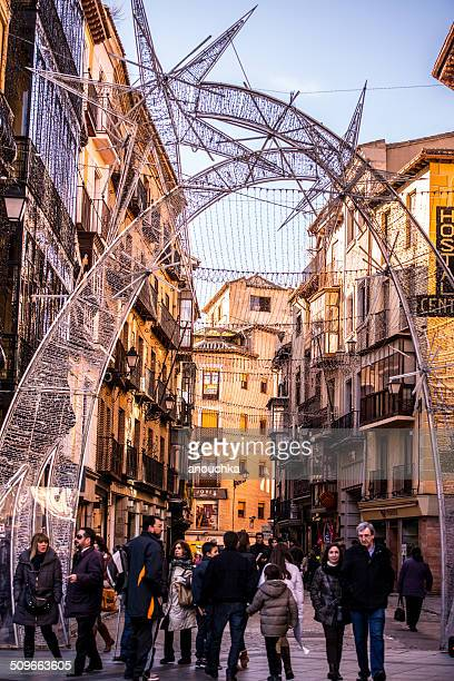 Busy Toledo street during Christmas holidays, Spain