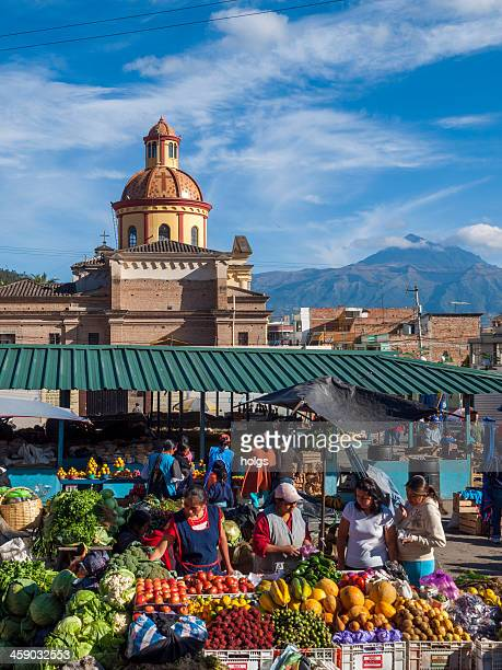 Busy traditional produce market in Otavalo, Ecuador