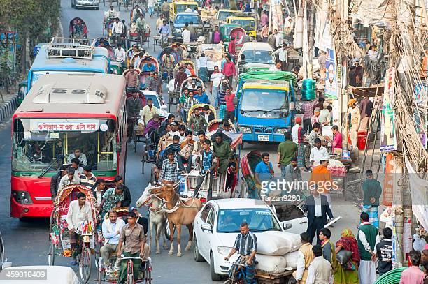 busy traffic in dhaka street, bangladesh - bangladesh stock pictures, royalty-free photos & images