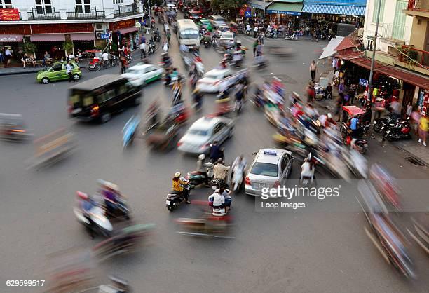 Busy traffic in the Old Quarter in Hanoi Hanoi Vietnam
