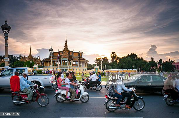 Busy Traffic Outside The Royal Palace In Phnom Penh