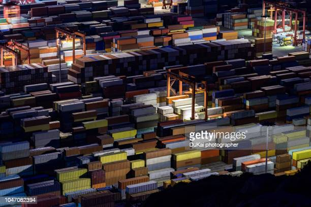 Busy Yangshan container port in night,Shanghai,China
