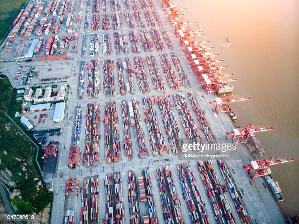 Busy Yangshan container port,Shanghai,China