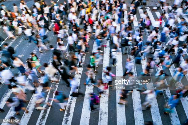 busy zebra crossing in japan - pedestrians stock photos and pictures