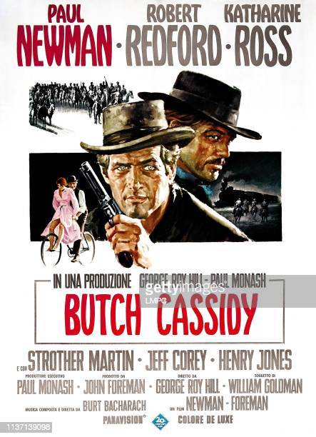 Butch Cassidy And The Sundance Kid poster from top left Katharine Ross Paul Newman Robert Redford 1969