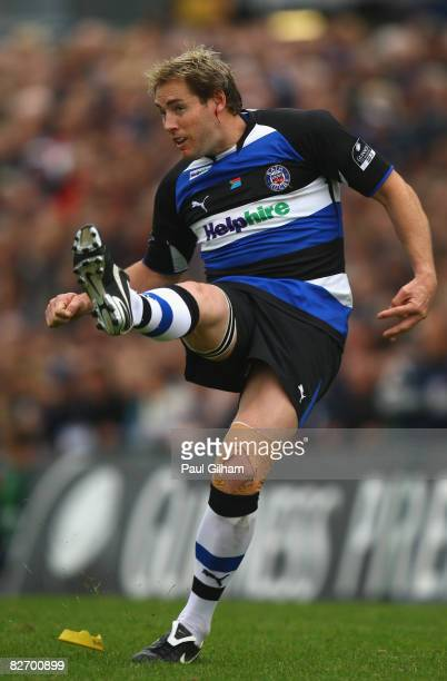 Butch James of Bath kicks a penalty during the Guinness Premiership match between Bristol and Bath at the Memorial Stadium on September 7, 2008 in...