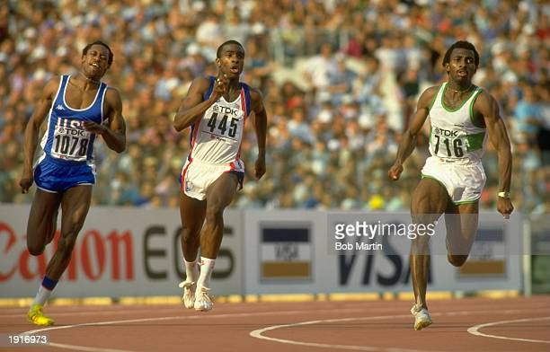 Butch Reynolds of the USA Derek Redmond of Great Britain and Innocent Egbunike of Nigeria in action during the 400 Metres event at the 1987 World...